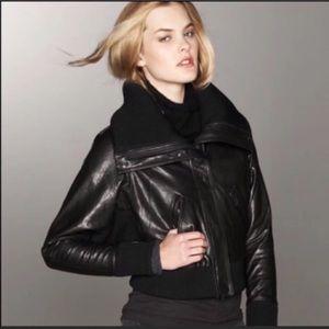 Vince Black Genuine Leather Bomber Jacket Large